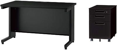 プラス Garage デスク ブラック 幅120cm 奥行60cm +デスクワゴン 家具セット