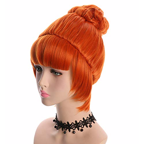 Yuehong Cosplay Wig Orange Bun Curly Synthetic Halloween Hair Wigs