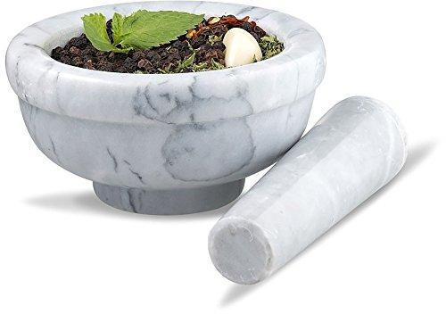 Sagler Ensemble de mortier et pilon en marbre Gris 9,5cm de diamètre