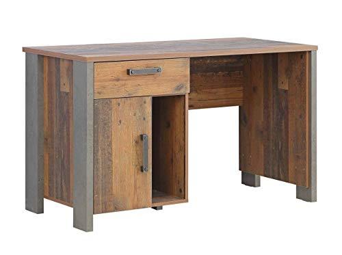 FORTE Schreibtisch in trendigem Vintage/Industrial Look mit einem Schubkasten und einer Tür