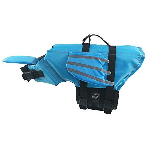 BLEVET Reflectante Chalecos Salvavidas para Perros Seguridad Ajuste para Natación Surf Caza Barco MZ085 (M, Blue)