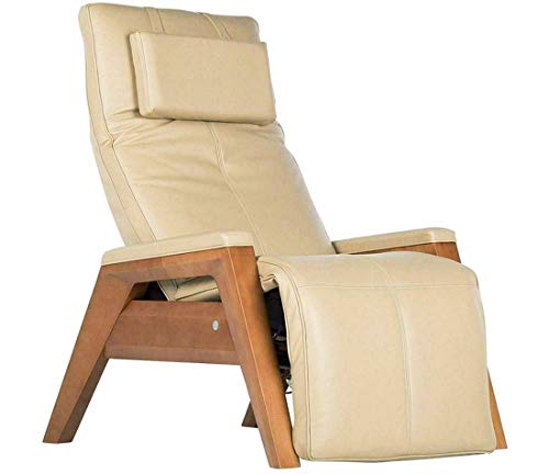 Human Touch Gravis ZG Zero Gravity Leather Massage Chair Recliner with Remote - Beech Wood - Sand Leather - in Home Delivery