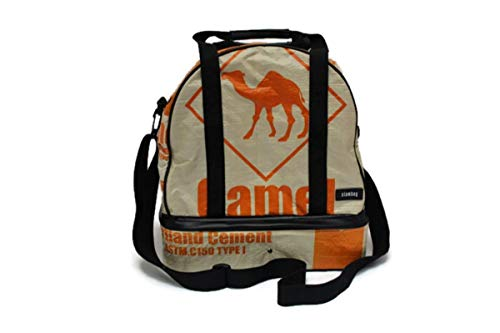 Weekender 38 x 24 x 40 cm Recycling Tasche Dufflebag Duffle Bag Sporttasche Saunatasche mit Nassfach Naßfach Reisetasche aus Gewebeplane Thailand Zementsack Upcycling (Orange Camel)