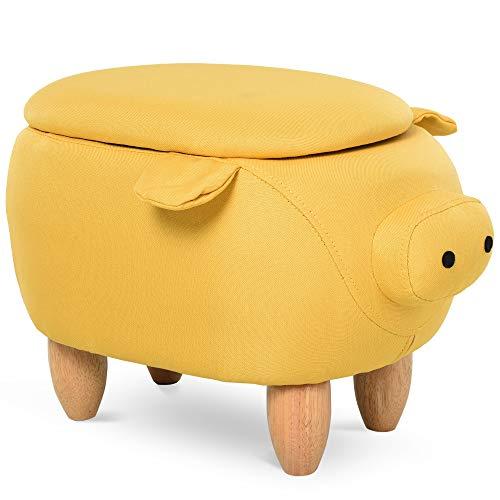 HOMCOM Tierhocker, Dekohocker mit Stauraum, Polsterhocker, Sitzhocker, Sitzbank mit Tier-Design, für Wohnzimmer, Schweinchen Fußbank, Gelb, 62 x 35 x 36 cm