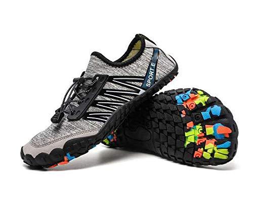 Zapatos de Agua Escarpines,Elástica Zapatos de Agua,Zapatillas de Playa de Cinco Dedos para Deportes al Aire Libre Antideslizantes Tallas Grandes Zapatillas de Buceo-Grey_38