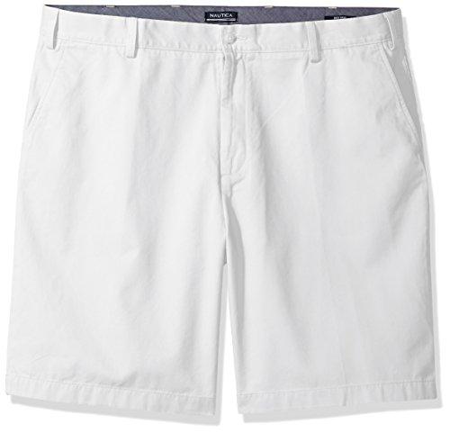 Nautica Men's Big Cotton Twill Flat Front Chino Deck Short-C92110, Bright White, 44W Tall