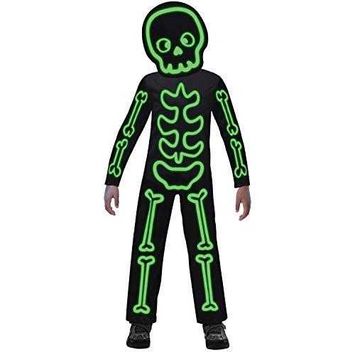 amscan 9907098 – Disfraz infantil de esqueleto luminoso, para niños y niñas, brilla en la oscuridad, disfraz de cuerpo entero, carnaval, fiesta temática, Halloween