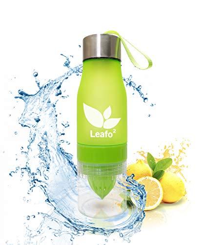 LeafO2 Trinkflasche Mit Zitruspresse - Hellgrün - 650ml - 100% BPA-frei, Super Plastik, Auslaufsicher - Fitness, Gym, Outdoor, Sport, Schule, Uni, Reise, Camping