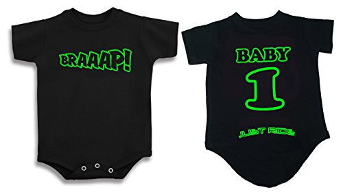 Just Ride Braaap! Motocross Baby Infant One Piece Creeper Personalized (NB-3 Month, Lime)