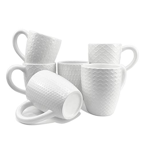 Schliersee White Ceramic Coffee Mugs set of 6, Stylish Embossed Coffee Cups Set with Different...