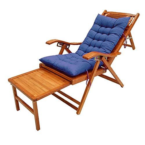 FUFU Deckchairs Bambus-Liegestühle, verstellbare Liegestühle for Garten/Hof/Balkon Außenliegen aus Holz mit Fußstützen und Matratzen Klappbar (Color : Blue)
