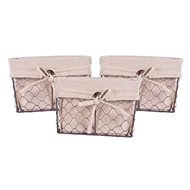 DII Home Traditions Vintage Metal Chicken Wire Storage Basket with Removable Fabric Liner, Set of 3 Small Sized, Natural