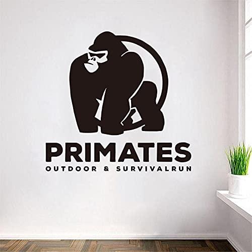 Primate Outdoor Survival Run Vinile Wall Sticker Decalcomania rimovibile Art Poster Wallpaper Orangutan Tema murale decorativo Altro colore 38x40cm