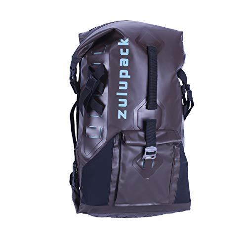 Zulupack Addict 27L Nylon 420D Sac de Rando Etanche Double Ouverture Adaptable Molle Tout Terrain Brown 55x15x30cm 27 L