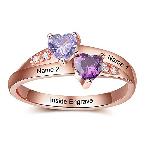 Personalized Promise Rings for Her Mother Rings with 2 Simulated Birthstones Custom Couples Name Ring for Women (Rose Gold, 8)