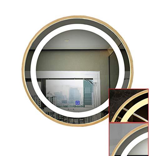 Le Miroir de Salle de Bains a mené Le Miroir Rond en Verre d'évier de Salle de Bains Suspendu léger de lumière
