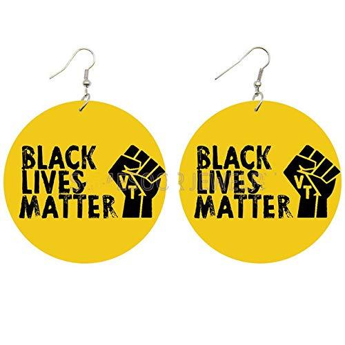 Gedruckte Afrikanische Power Fist Holztropfenohrringe Und Black Life Issues Afrikanische Historische Figuren Benennen Geschenke Für Schwarze Frauen
