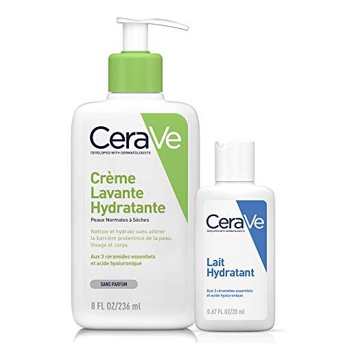 CeraVe Crème Lavante Hydratante   236ml + Lait Hydratant 20ml Offert   Crème Lavante Hydratante 24h Nettoyant Visage & Corps à l'Acide Hyaluronique sans savon pour Peaux Normales à Très Sèches