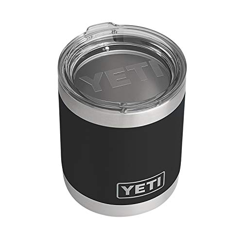 YETI Rambler 10 oz Lowball, Vacuum Insulated, Stainless Steel with Standard Lid, Black
