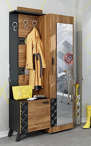 Mobile Ingresso Moderno con 3 Ganci Appendiabiti Anta con Specchio Vano Contenitore con Anta Mobile Entrata Nero e Castagno Naturale IU24
