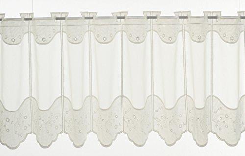 Tenda della Finestra con Ricami Floreali Altezza 45 cm | può Scegliere la Larghezza in segmenti da 15,5 cm, Come Vuole | Colore: Natura | Tendine Cucina