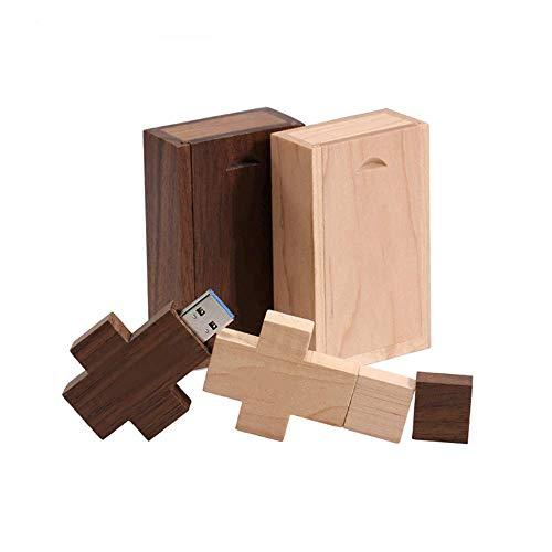 Beken - Chiavetta USB a croce in legno, confezione da 2 pezzi, con chiavetta USB e scatola di memoria a croce (8 GB/3.0)