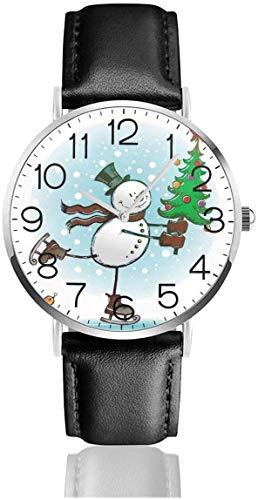 Alfombrillas de baño Reloj de Pulsera de Cuarzo con diseño de muñeco de Nieve con Correa de Cuero Negro para Mujeres, Hombres, niños y niñas