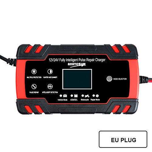 Cargador de batería de coche de 12 / 24V 8A pantalla táctil LCD de reparación de pulso cargador de batería for el coche de la motocicleta Batería de plomo ácido Agm gel húmedo ( Color : EU Plug )