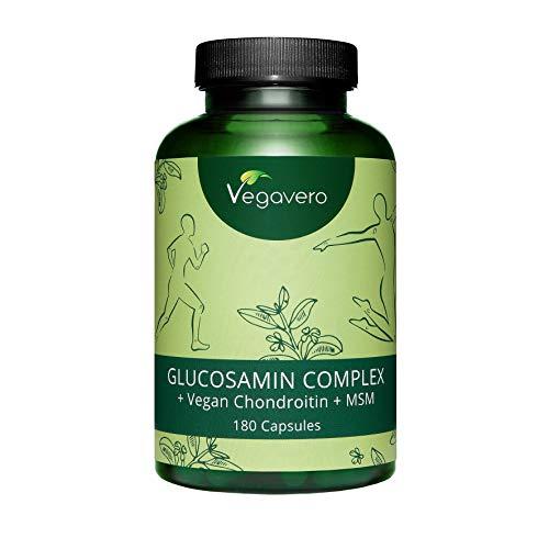Glucosamine Complex Vegavero® | UNIQUE : VEGAN et Sans additifs | Avec chondroïtine végétale Mythocondro® + MSM + Harpagophytum + Vitamine C + Zinc | Pour les Articulations* | 180 Gélules