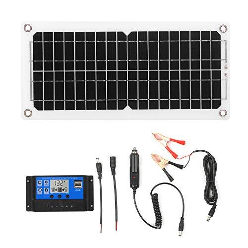 KKmoon 12W 12V Solarpanel Kit Monokristallines Solarmodul USB-Anschluss Panel Mono Solarzelle Photovoltaik ohne Netz mit SAE-Verbindungskabelsätzen für Camping Car Boat Marine - Mit Controller