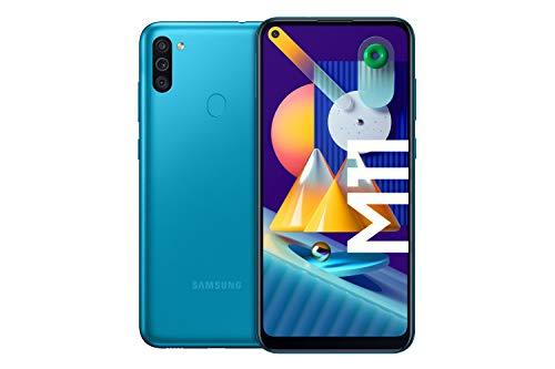 Samsung Galaxy M11 Android Smartphone ohne Vertrag, Triple-Kamera, 6,4 Zoll HD+ Infinity-O Display, großer 5.000 mAh Akku, 32 GB/3GB, Handy in Blau, deutsche Version exklusiv bei Amazon