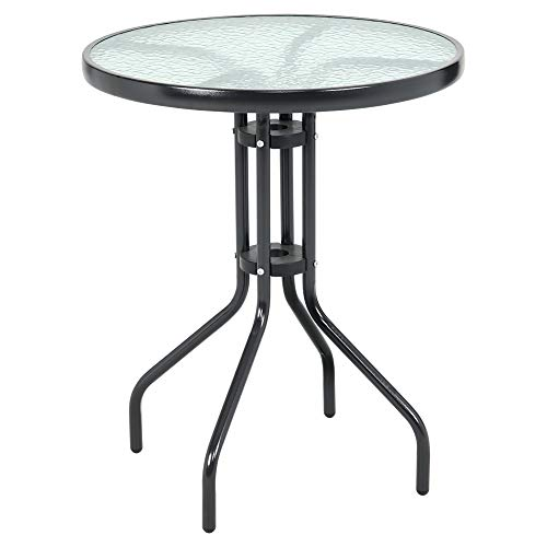 DKIEI Outdoor Round Dining Table Tempered Glass Top Bistro Table for Garden Patio Balcony Backyard Black, 60 * 60 * 71cm