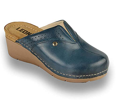 LEON 1002 Zuecos Zapatos Zapatillas de Cuero para Mujer, Azul, EU 40
