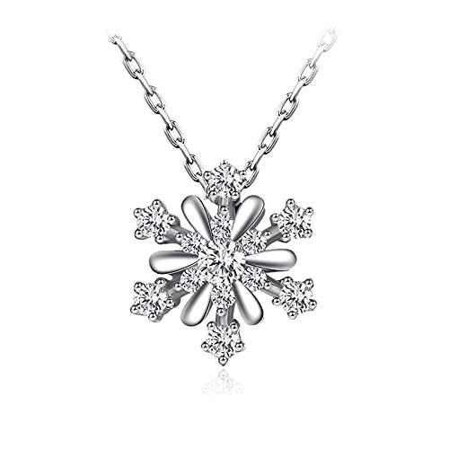 Collares para mujer con circonita cúbica copo de nieve, cadena de plata para mujeres y niñas