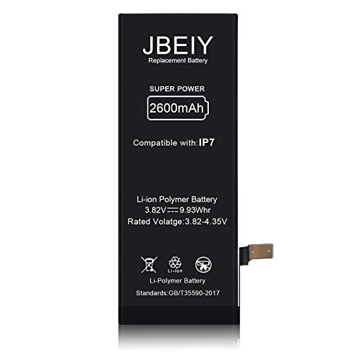 JBEIY Batteria per i-Phone 7, Nuova Batteria Sostitutiva ad alta Capacità da 2600 mAh Migliorare 32%, Senza Sttrezzi di Riparazione e Strisce Adesive-1 Anno di Garanzia