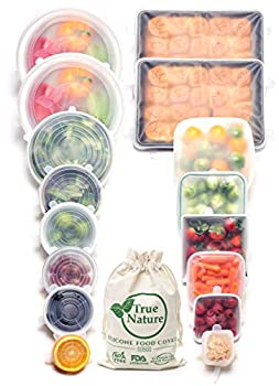 True Nature Silicone Stretch Food Covers 16-Pk | Exclusive XXL Baking Pan Size | 100% Platinum-Cured Food Grade Silicone BPA-Free | Versatile Reusable Sustainable | Microwave Oven Dishwasher Safe