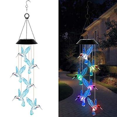EEEKit Solar Color Changing Hummingbird Wind Chime, Solar Powered LED Hanging Lamp Waterproof Windchime Light with Hook for Outdoor Indoor Home Garden Patio Yard Pathway Decor
