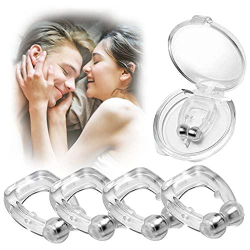 4 Stück Anti Schnarch Nasenclip, Premium Schnarchstopper Magnetischer Nasenklammer gegen Schnarchen Nasenclip - Nasenspreizer für eine friedliche Nacht