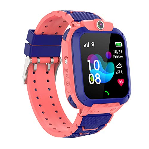 Smart Watch for Kids, GPS Smart Watch ,Support GPS + LBS Dual Positioning Geo-Fence,Voice Intercom Phone Watch Make Calls, SOS Anti-Lost Alarm,Voice Chat,Camera,Games,Touch Smartwatch for 3-12 Years Old for Boys and Girls Compatible with iOS / Android (Pink)