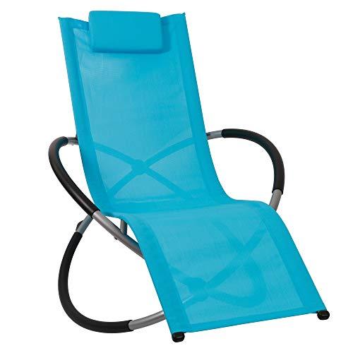 Bc-elec - HMBL-04-BLUE Blaue Loungesessel, Gartenentspanner, Gartenstuhl, Schaukelstuhl, wetterfest, max 180kg
