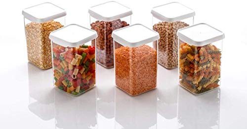 ASP Online Traders Confezione da 6 contenitori per Alimenti in plastica Quadrati con coperchi, contenitori per Alimenti a Prova di perdite, 550 ml (0,5 Quarti)