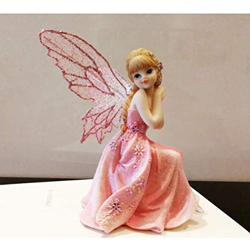 LXYZ Collectible Figurine Sculpture Statue Continental Pink Flower Fairy Angel Ornaments Princess Decoration Girl Child Birthday Gift Home Decorations