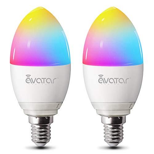 Smart LED Lampen E14, Alexa Wlan Glühbirne 5w 2800K Dimmbar Birne 16 Millionen Farben Kein Hub Erforderlich Kompatibel mit Google Home by Avatar Controls, auf NUR 2.4 GHz Netzwerk (2 Pack)