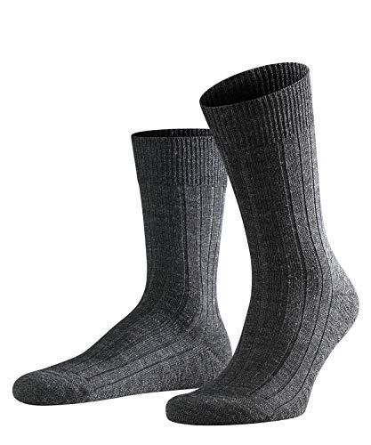 FALKE Herren Teppich Im Schuh Schurwolle Einfarbig 1 Paar Business Socken, Grau (Anthracite Melange 3080), 43-44