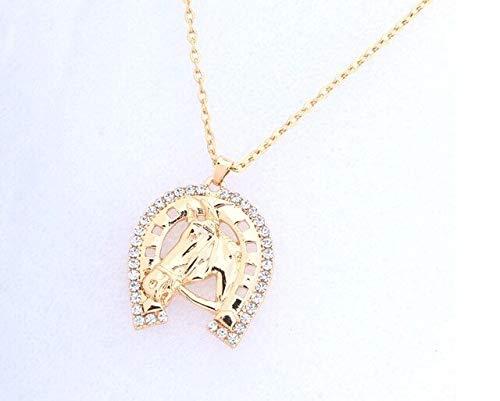 GMZTT Hufeisen-Kristall und Halskette mit Anhänger Pferdekopf, Pferdehalsbänder, Light Yellow Gold Color, 55 cm