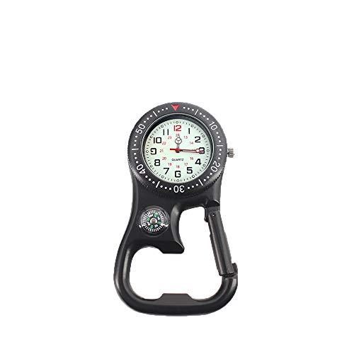Weicam Men Women Compass Corkscrew Carabiner Clip on FOB Watch Outdoor Adventure Luminous Pocket Watch (Black)