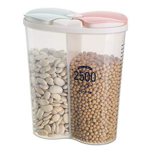 Vorratsdosen Luftdicht mit Deckel, Cornflakes Aufbewahrungsbox Küche Müslidosen Kunststoff, BPA-frei Auslaufsichere Kunststoff-Getreidespenderbehälter für Mehl Zucker Reis - 2,5L / 2 Gitter, 2 Farben