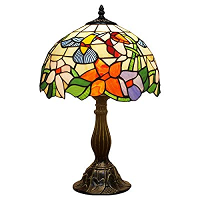 Tiffany Lamp W12H18 Inch Hummingbird Stained Glass Reading Table Bedside Desk Light S101 WERFACTORY Lamps Antique Art Craft Gift Parent Girlfriend Lover Kid Living Room Bedroom Study Coffee Bar Deco - Tiffany Lamps: Lampshade wide 12inch (30cm) height 18inch (45cm), Zinc Base 1.0KG wide 6 Inch (15CM) ,UL listed, Switch: Online-on/off. 12 Inch far away from base, and 48 Inch far away from Plug , Finish: Bronze color and hand made stained glass lampshade, Assemble is Easy, Bulb Not Included, Need Buy E26 2700K G45 LED Bulb 1PCS, 4-8W Warm White Light Will Be Better. Free Incandescent Bulb Will Be Hot, Throw it Away After Test Lamp Working Tiffany Lamps are beautiful handcrafted lamps not too bright but will certainly add elegancy and creativity to your home. These lamps are inspired from the Art Nouveau design, making each one a unique and stunning centrepiece to place in your living room, bedroom, office, kids room, or college dorm - lamps, bedroom-decor, bedroom - 41ikkgCQuJL. SS400  -