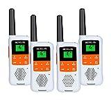 Retevis RT649B Walkie Talkie Recargable, 16 Canales, PMR446 Licencia, 10 Tonos de Llamada, Linterna LED, Manos Libres VOX, Batería Recargable 3AA, Walkie Talkie (4 Piezas, Blanco)