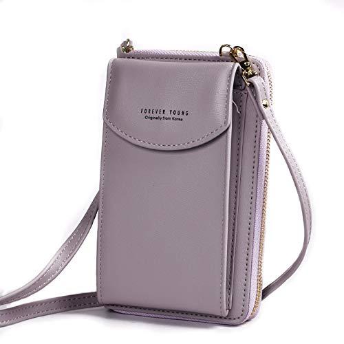 Moda PU Bolsos de Lujo para Mujer Bolsas para Mujer Bolsos de Mano para Mujer Bolsas de Cruce de Mujer Bolsas de Monedero Embrague Bolso Billetera para Mujeres (Color : Light Purple)